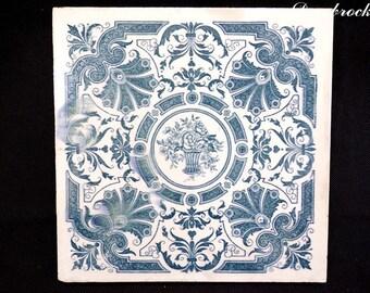 Antique Longwy france decor Delft earthenware tile deco retro vintage france vintagefr