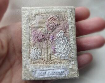 mini textile canvas, love stitches canvas, mini embroidery, textile garden, shelf embroidery, mini textile art, tiny garden