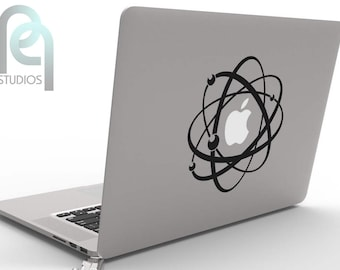 Atomic apple, Power of Atom, science physics geeky macbook or laptop decal, sticker SKU-PPMD117