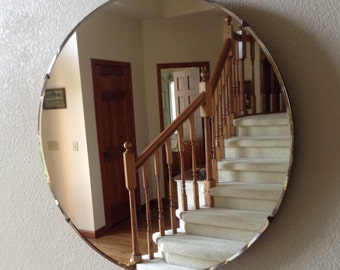 """Round Vintage Mirror, 26"""" Diameter, Beveled Glass, 1"""" Wood Frame Backing, Beautiful Condition"""