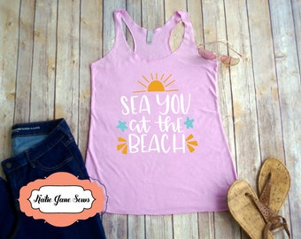 Sea You at the Beach Racerback Tank, Summer, Beach, Tank Top, Bathing Suit Cover, Tanktop, Womens Tops and Tees