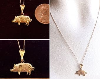 10k gold necklace etsy vintage 10k yellow gold diamond cut pig pendant vintage 10k gold necklace pig pendant v mozeypictures Gallery