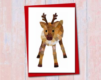Reindeer Christmas card, Blank card, Christmas card, Cute reindeer card, Collage art print, Christmas animal card, Festive deer card