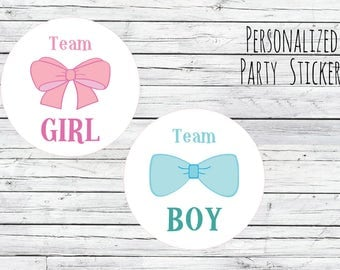 Gender Reveal Party Stickers Team Boy, Team Girl, Bow, Bow Tie, Baby Shower Voting, Favor Tags, Labels, You Choose Size