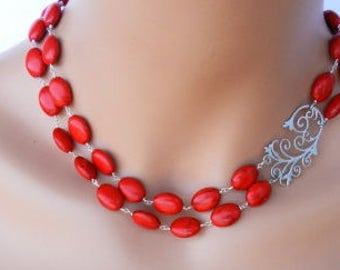 Stone Necklace - Red Turquoise Necklace - Lace Branch Connector - Double Strand - Beaded Necklace