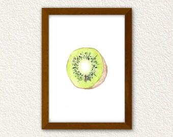 Kiwi Watercolor Print. Kitchen Decor. Kiwi Print.