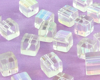 8mm Clear Glass Square Beads (19) Square Glass Beads. AB Coated Clear Beads. Clear Cube Beads. Glass Cube Beads for Making Jewlery