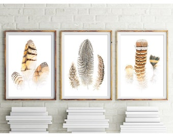 Set of 3 Feathers Prints, Digital Download of Watercolor Art - Barn Owl Feathers, Watercolor Feathers Art Wall Art, Watercolour Painting #20