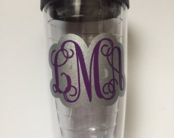 Glitter Monogrammed Tumbler | Monogrammed Cup | Personalized Cup | Double-Walled Tumbler | Birthday Gift