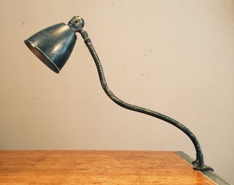 Vintage National Morelight Co Industrial Gooseneck Clamp Light - Black - New York - 1960s - Machinist
