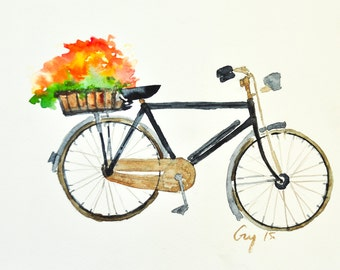 Original watercolor painting of black antique bicycle with flowers with signed, small size 21 x 29.7 cm [ A 4 ]