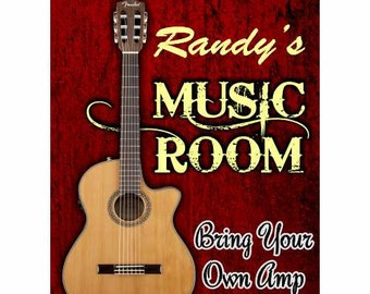 Custom Guitar Room Sign Custom/ Personalized Guitar Sign
