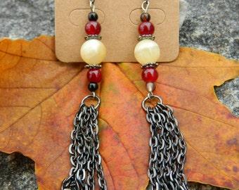 Citrine & Red Glass Dangle Earrings
