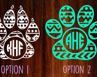 aztec paw print monogram decal, monogram decal, paw print monogram, paw print decal, aztec decal, yeti decal, car decal, laptop decal