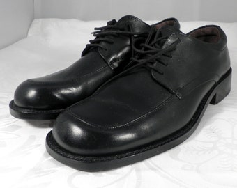 Mens Classic Black Leather Sole Shoes  Size S