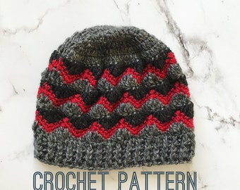 Crochet Beanie Pattern- Crochet Pattern- Crochet Hat Pattern- Winter Hat Pattern- Mens crochet hat- Mens crochet hat pattern- Beanie Pattern