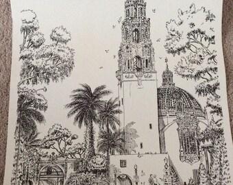 "Gil McCue Signed ""Museum Of Man"" Balboa Park Lithograph, Black & White Lithograph, San Diego, California Lithograph"