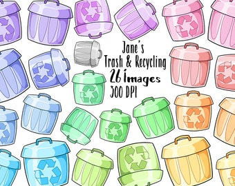 Kawaii Trash and Recycling Clipart - Trash Cans Download - Kawaii Design Download - Colorful Cute Trash Reminders