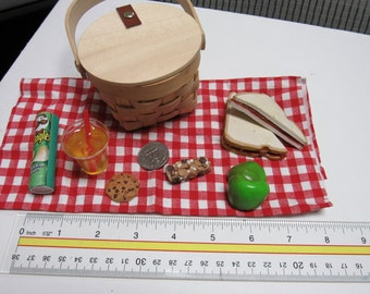 """18 """" doll picnic set, complete with everything you need for a picnic, even comes with covered basket to carry it in!"""