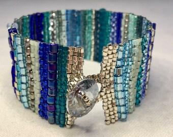 Blue Stripe Hand-Woven Beaded Bracelet