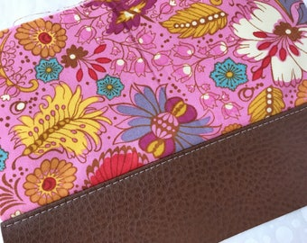 Pink Heirloom Flower Field Clutch with Faux Leather