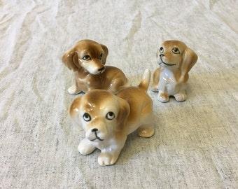 Vintage Ceramic Playful Puppy Figurines, Set of 3