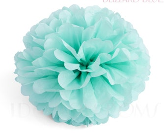 Blizzard Blue - Baby Blue Tissue Paper Pom Poms - Wedding Party Decorations - Baby shower Decorations