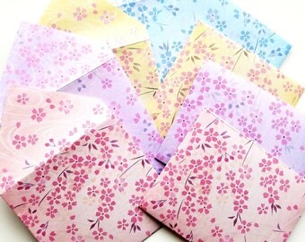 "Handmade mini 3""x3"" Cherry blossom envelopes Set of 8"