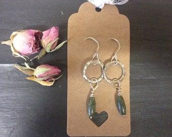 Sterling 925 silver hoop earrings with serpentine crystals