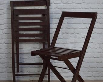 Vintage Folding Dark Wooden Cafe Bar Dining Garden Chairs