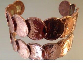 Vintage Cuff stile Copper Penny Bracelets