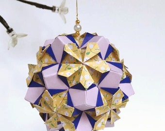 Iris Kusudama Flower Ball, Origami Kusudama, Flower Kusudama, Paper Decor, Origami Ornament, Japanese Ornament, Japanese Decor, Flower Decor