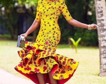 Yellow Star Studded African/Ankara print Fabric Dress for Women