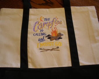 Machine Embroidered Canvas Tote Bag