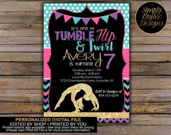 Gymnastics Birthday Invitation - Tumbling Birthday Party Invitation