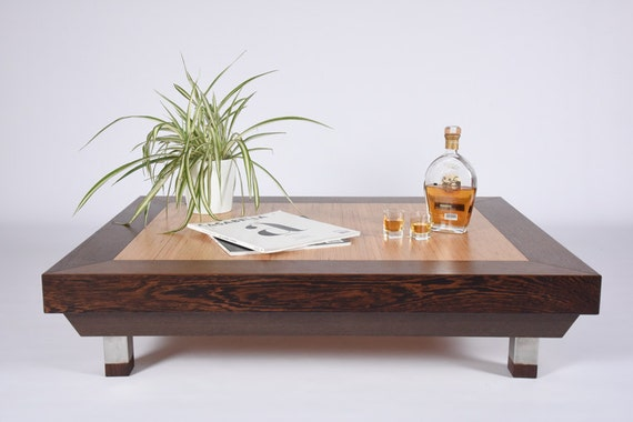 Wood Coffee Table Wenge And Birch Modern Side Table Mid