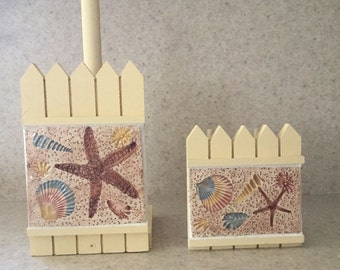 "Paper towel holder & matching napkin holder ""starfish and shells along the beach"""