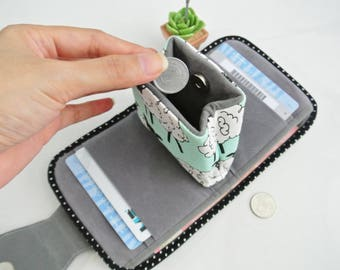 Moody Sheep Mini Purse, Change Purse, Coin Wallet, Bi-fold Wallet, Canvas Coin Purse, Small Wallet, Magnetic Closure - Made to Order
