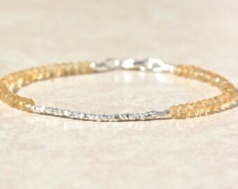 Citrine Gemstone Bracelet, November Birthstone, Silver Beaded Bracelet, Gemstone Bracelet, Friendship Bracelet, Boho Chic, Birthday Gift