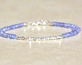 December Birthstone Bracelet, Tanzanite Bracelet, Beaded Bracelet, Gemstone Bracelet, Sterling Silver, Gift For Her, Friendship Bracelet