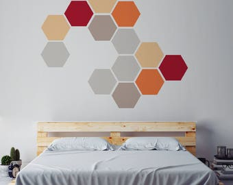Removable Honeycomb Wall Stickers, Self Adhesive Fabric Art Decal Stickers, Geometric Shapes