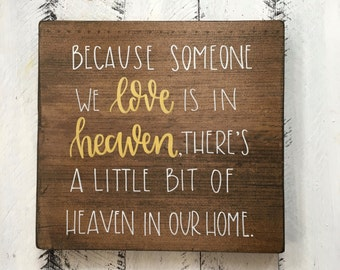 A Little Bit Of Heaven In Our Home - Wood Sign | Custom Wood Sign | Hand Painted Sign | Hand Painted | Heaven | Home Decor | Hand Lettering