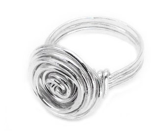 Silver rose wire ring, Wire ring, Rose wire ring, Silver wire ring, Rose shaped ring, Swirl wire ring, Wire wrapped ring, Flower ring
