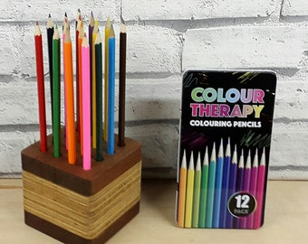 12 hole pencil holder with 12 colouring pencils