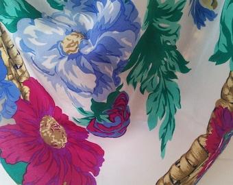 Liz Claiborne Flower Basket silk scarf // American designer, floral and basket border, silk scarf