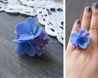 Valentines day gift Romantic gifts-for-her Birthday gift-for-girlfriend ring for Mothers day gift Flower ring Floral ring Nature ring Lilac