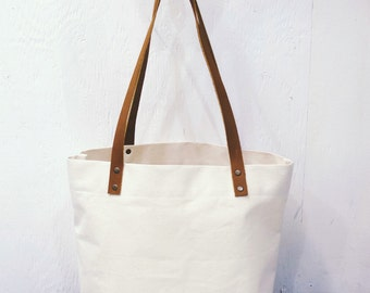 Natural Canvas, Denim & Leather Classic Market Tote Bag, farmers market bag, Portsmith Tote, Carry all, Perfect Gift, Leather Handles