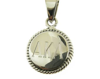 925 Sterling Silver Round Rope Edge Monogrammed Greek Sorority Letters Pendant, Add a Diamond Cut Rope Chain to make it a Necklace