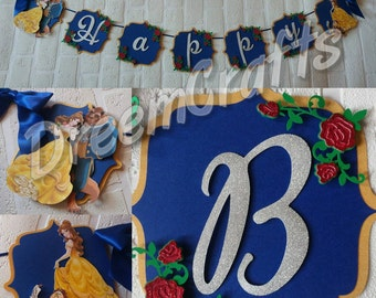 Beauty and the Beast Banner. Belle Banner. Princess Banner. Royal Blue Banner.