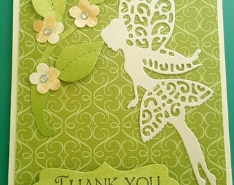 Fairy Thank You Note Thank You Card Green Fairy Thank You Handmade Card Thank You Fairy Much Card